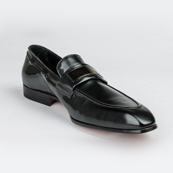John Galliano black wet-look leather penny loafers with detailing