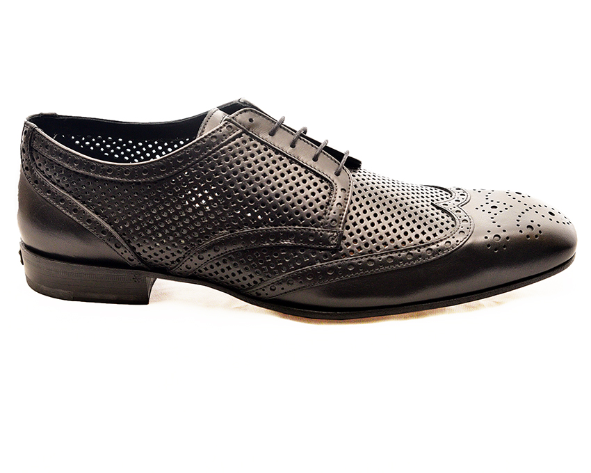 John Galliano Black lace up derby with semi-brogues design