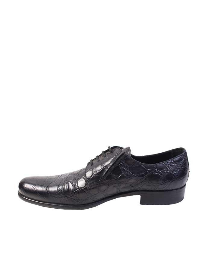 Doucals Alligator Skin Lace Up Shoes Black FrontPage For Men