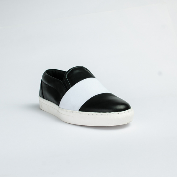 Vulcan black leather slip-on