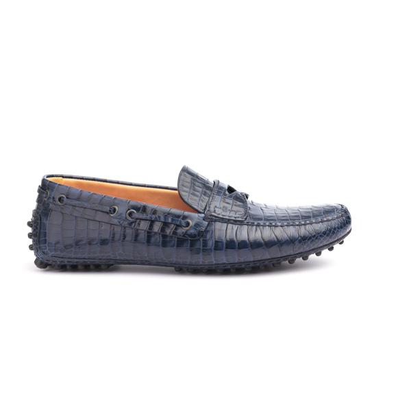 Blue blue crocodile skin driver by car shoe
