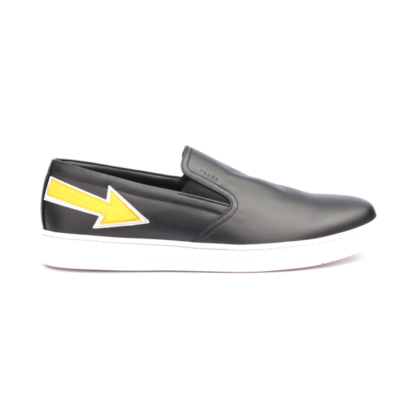 Prada Black Leather slip-on with yellow arrow on the side