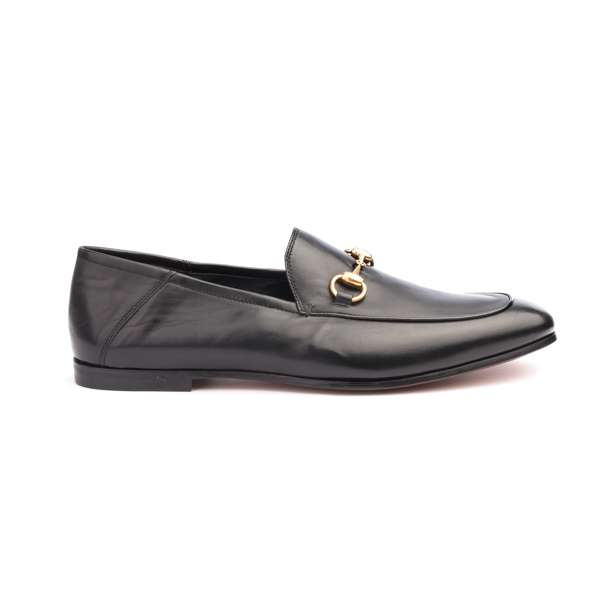 Black Leather Bit Loafers with horse bit by Gucci