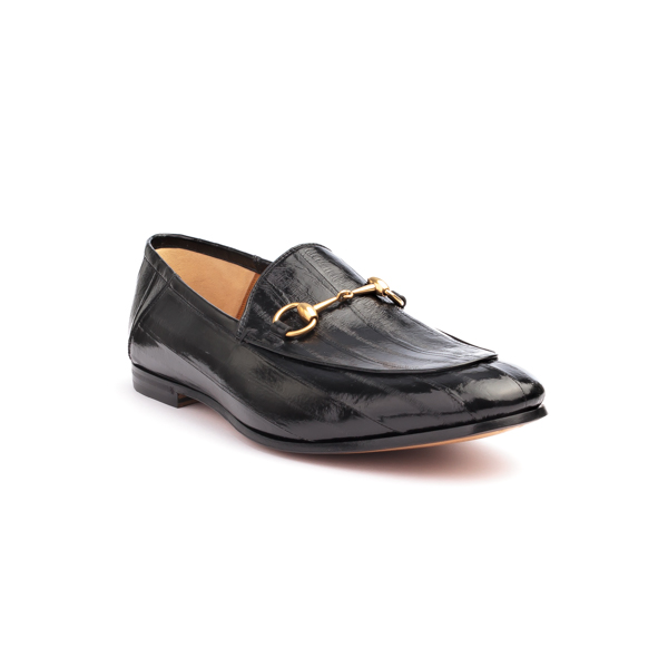 Black Wet-look Loafers with horse bit by Gucci