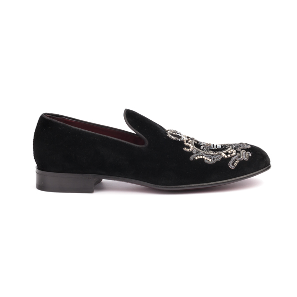 Black suede moccasin with Royal Crown Insignia by Dolce and Gabbana