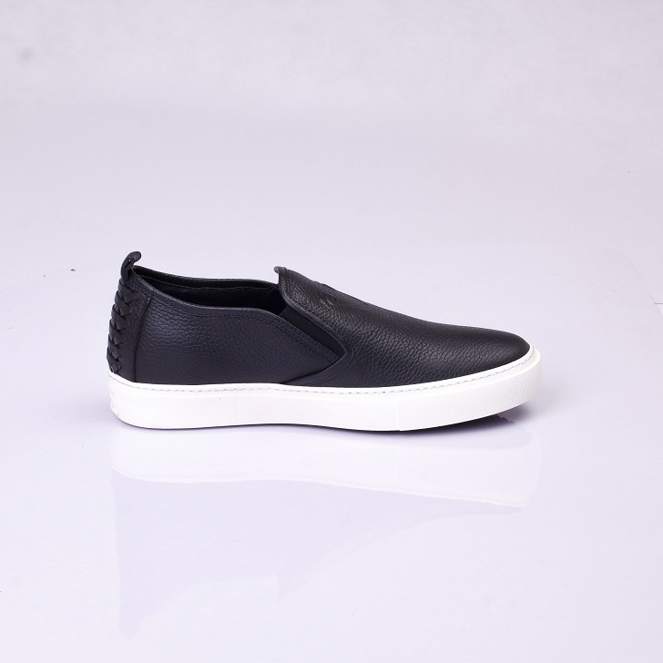 Roberto Cavalli Black Leather Slip-on with White Sole 2
