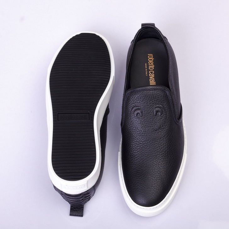sports shoes ca6e4 b22c2 Roberto Cavalli Black Leather Slip-on with White Sole