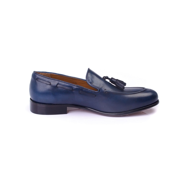 FPC Blue Leather Tassels Loafers 3