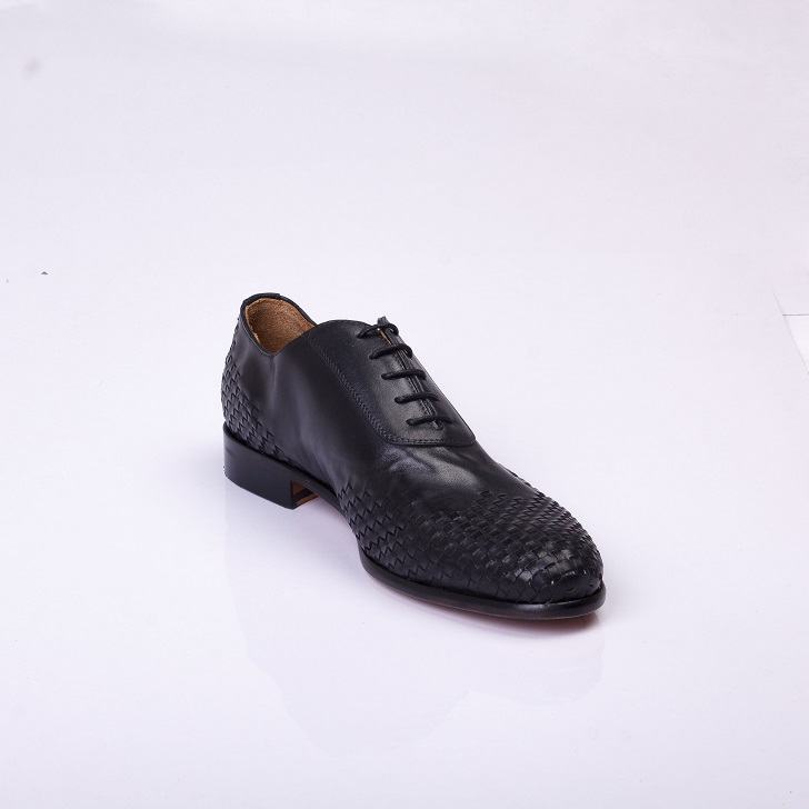 FPC Black Leather Derby Lace-up with Knitted Design 2