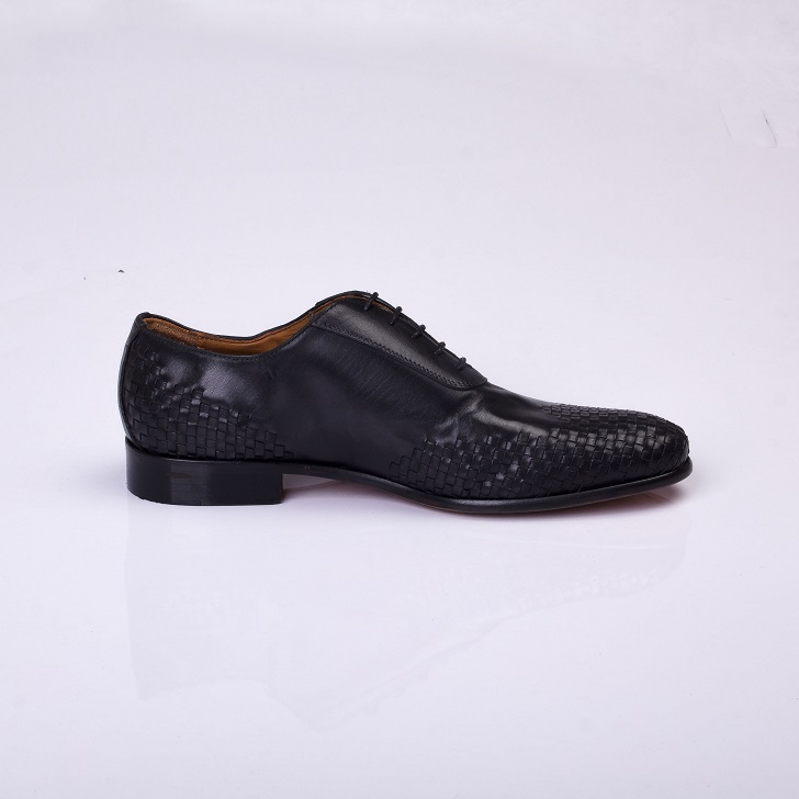 FPC Black Leather Derby Lace-up with Knitted Design 3