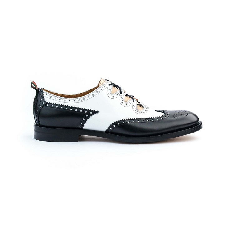 Black and White Gucci Laced Brogue With Decorative Perforations