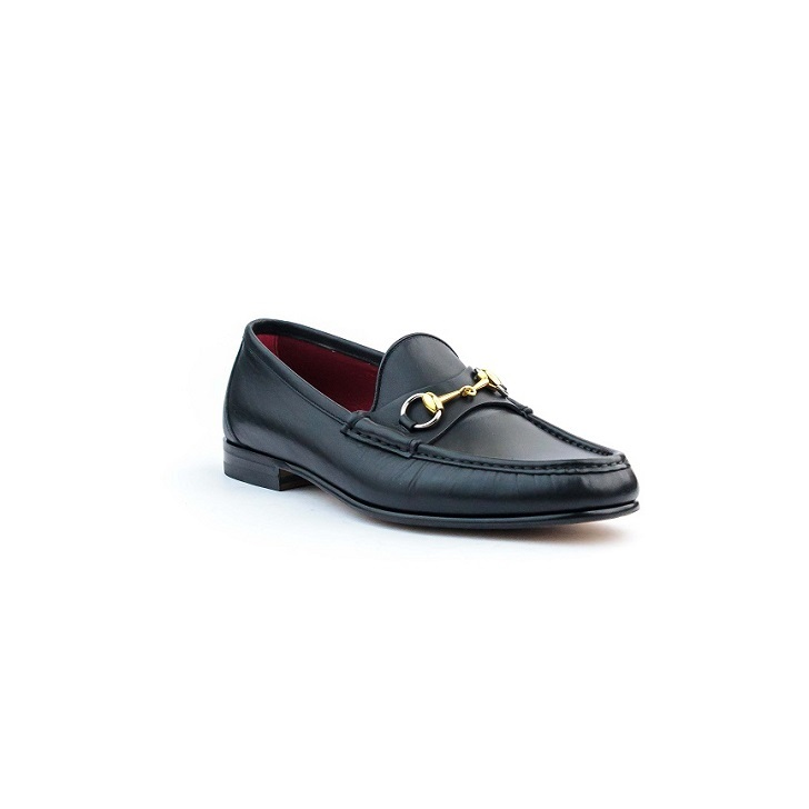 Black Leather Gucci Moccassin with Gold Horesbit and Leather Sole