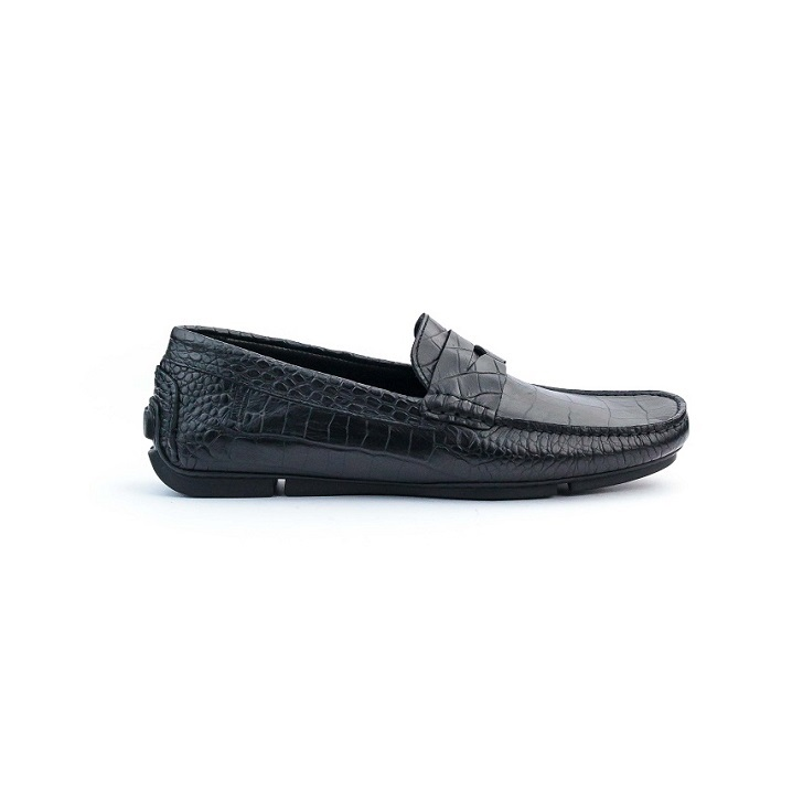 Black Leather Giorgio Armani Crocodile Drivers with Rubber Sole