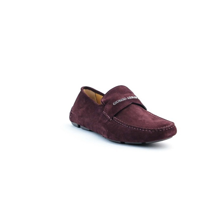Wine Giorgio Armani suede drivers with rubber sole