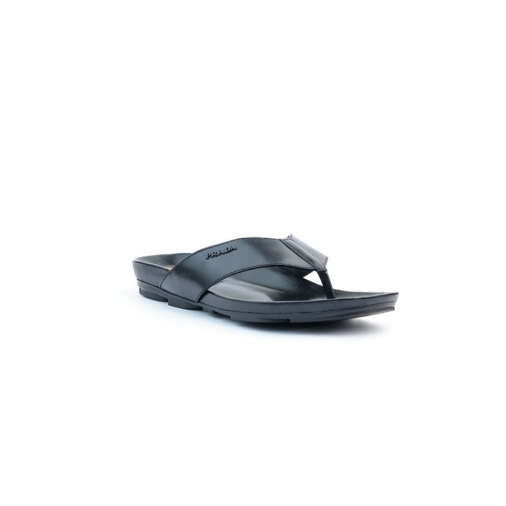 Black leather Prada slippers