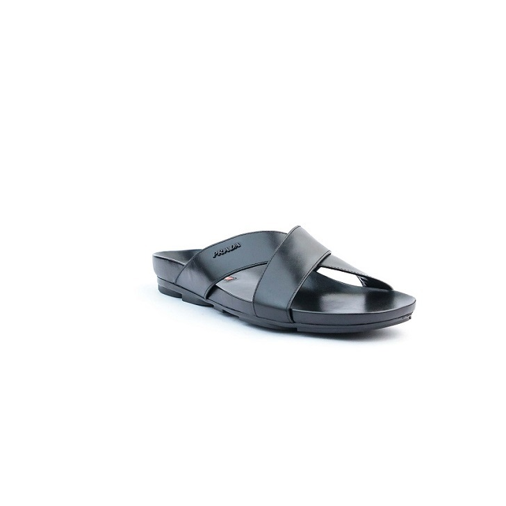 Prada Black Leather Criss-Cross Sandals