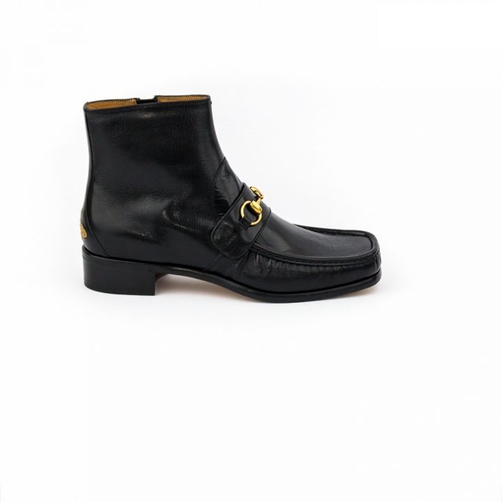 Gucci Black Leather Boots with Gold Horse-Bit