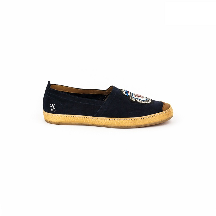 Billionaire Blue Espadrilles Slip-On with Silver Insignia
