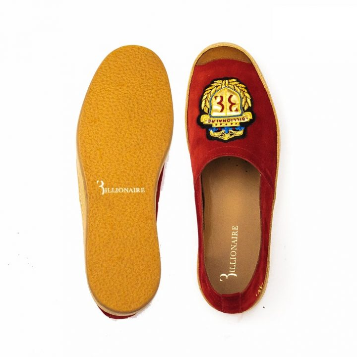 Billionaire Red Espadrilles Slip-On with Gold Insignia