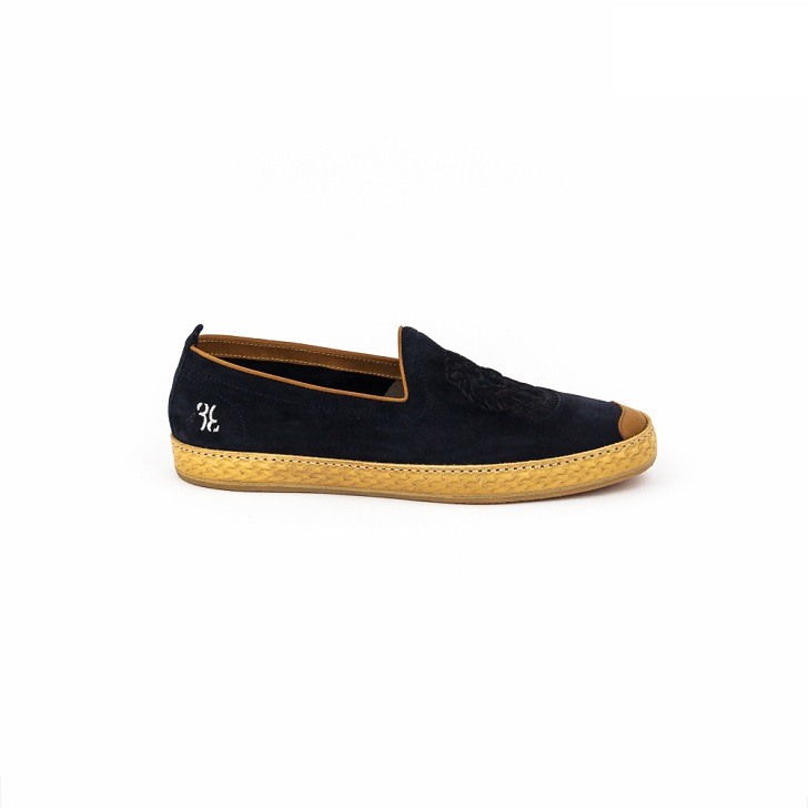 Billionaire Dark Blue Espadrilles Suede Slip-On with Embroidered Crest