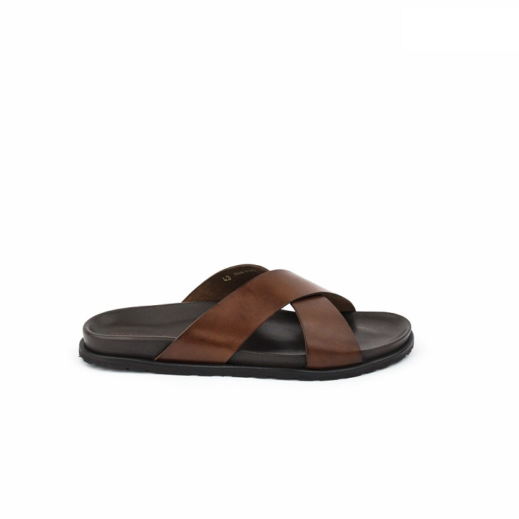 FPC Brown Leather Criss-Cross Open Toe Slippers