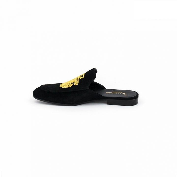Billionaire Black Suede Half Shoe with Gold Insignia