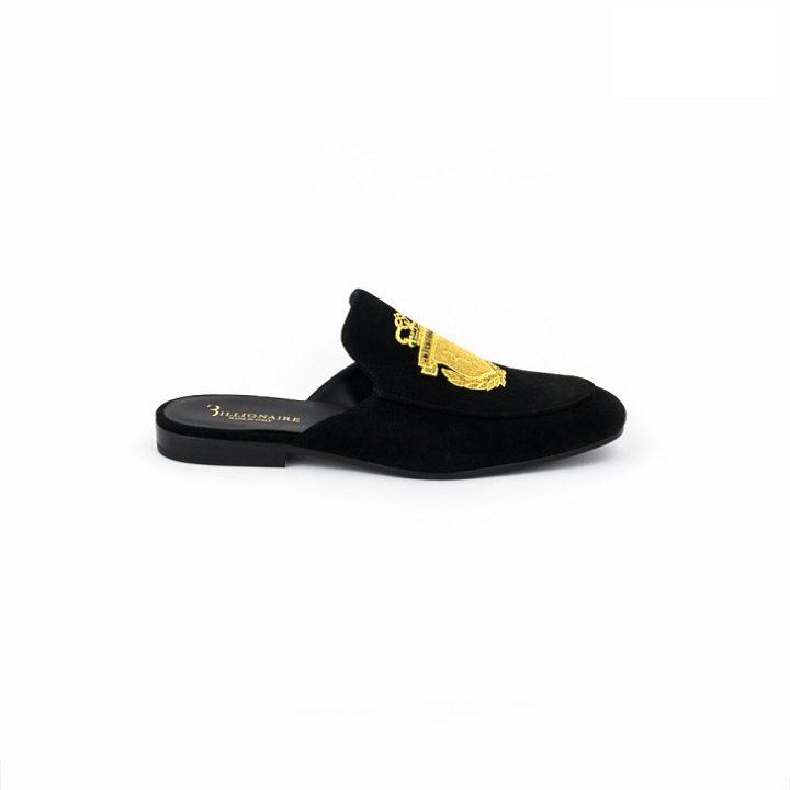 Billionaire Black Suede Half Shoe with Gold Insignia