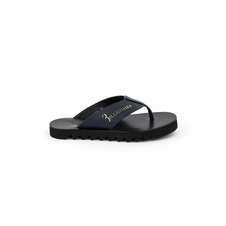 Billionaire Blue Leather Thong Slippers with Crested Gold Logo