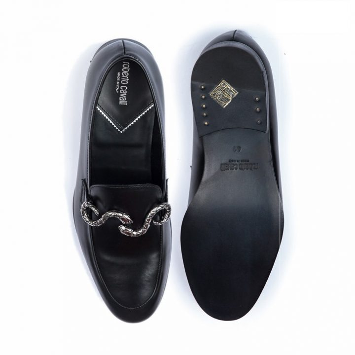 Roberto Cavalli Black Leather Loafers with Snake Buckle
