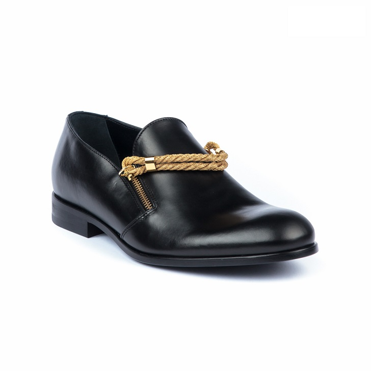 John Galliano Black Moccasins with Gold Trimmings