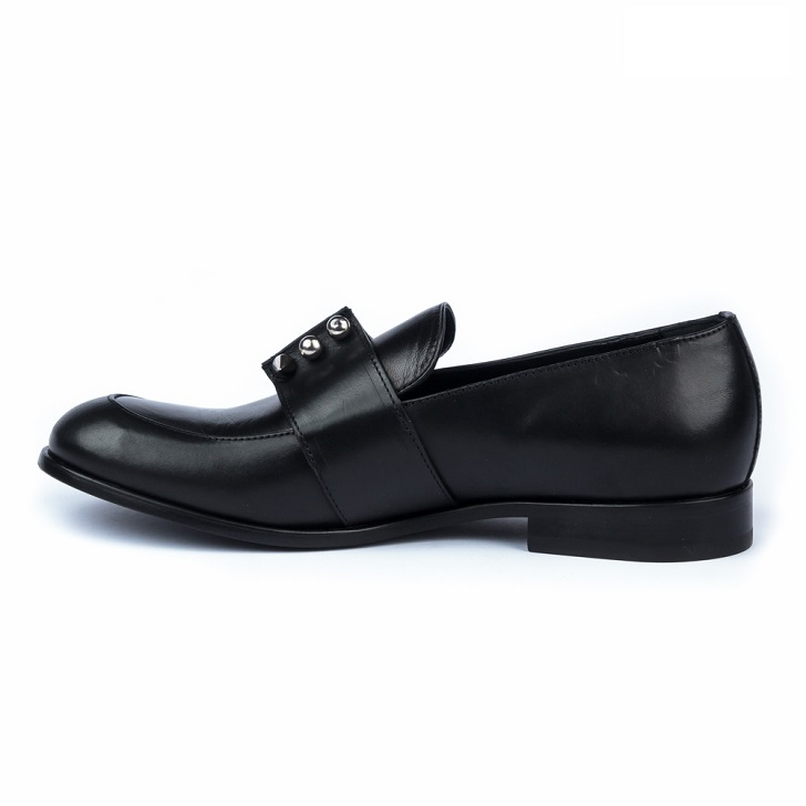 John Galliano Black Leather Moccasin With Studs