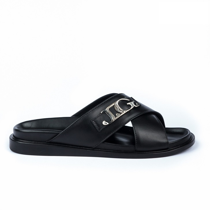 John Galliano Black Criss-Cross Leather Sandals