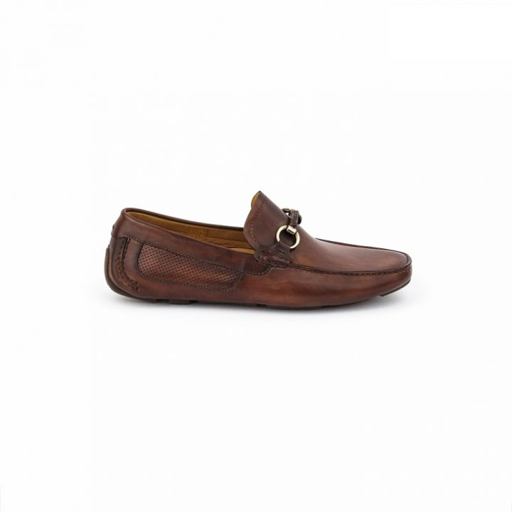 Magnanni Caoba Brown Leather Drivers with Horse-Bits