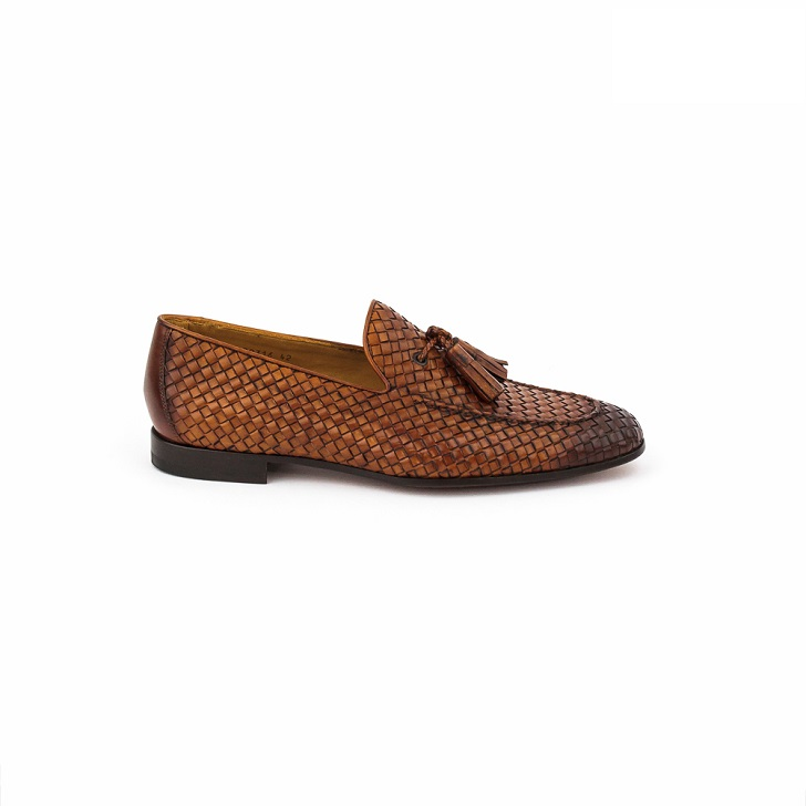 Magnanni Cognac Knitted Brown Tassel Loafers
