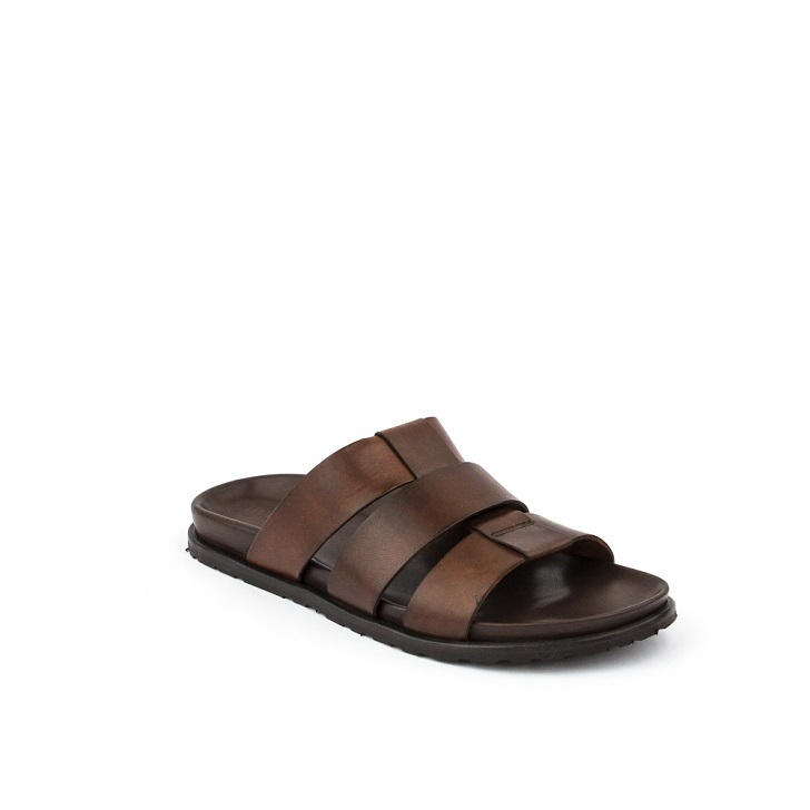 FPC Brown Leather Open Toe Slippers
