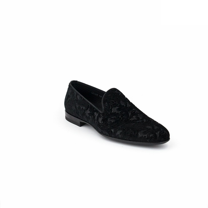 Magnanni Negro Print Black Suede Loafers