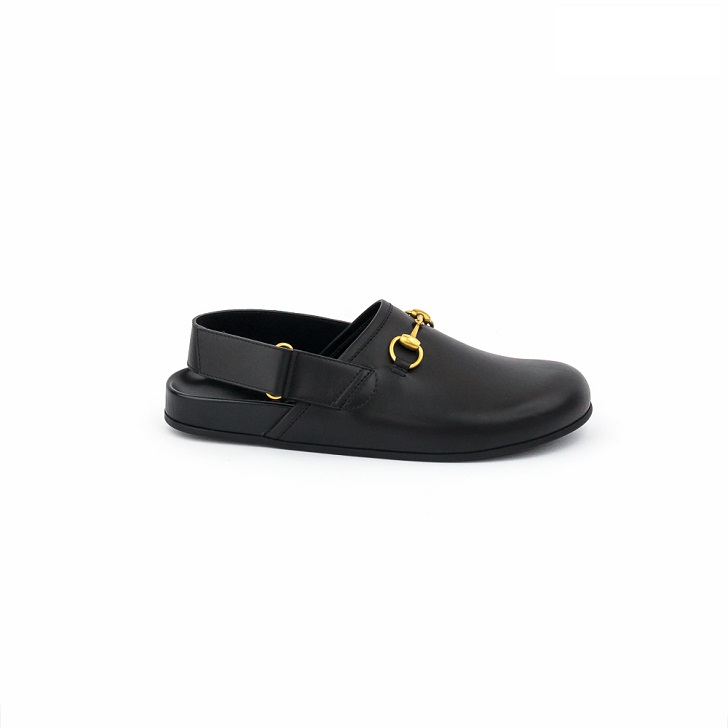Gucci Black Leather Sandals with Gold Horse-Bit