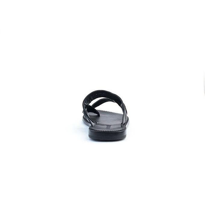 Roberto Cavalli Hand made Black Leather Criss-cross Slippers