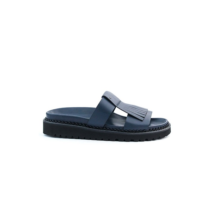 John Galliano Navy Blue Slide-On Fringe Slippers