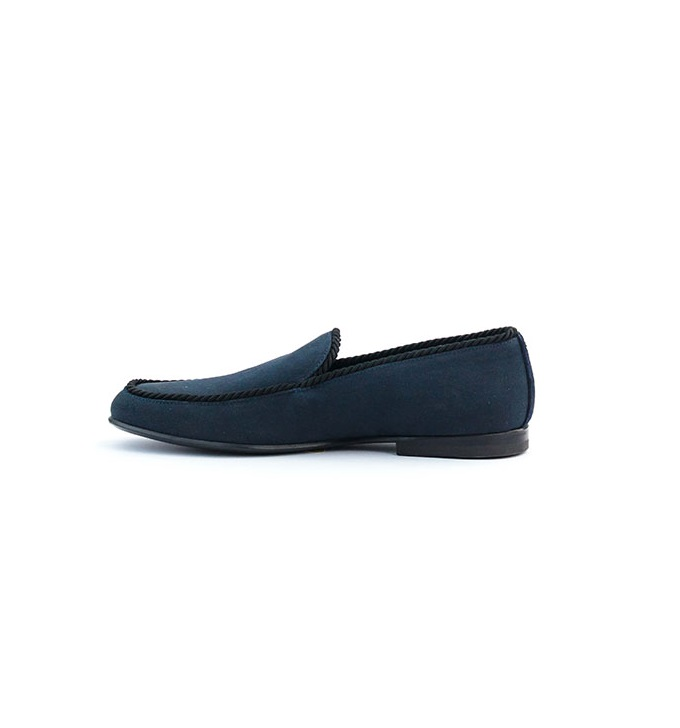 John Galliano Navy Blue Rope Detail Loafers