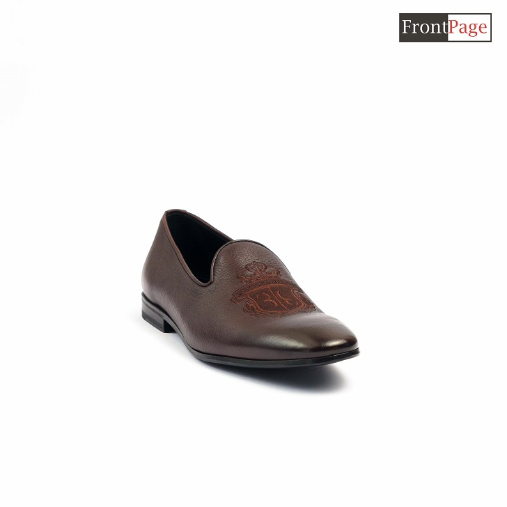 Billionaire Brown Leather Loafers With Crested Logo