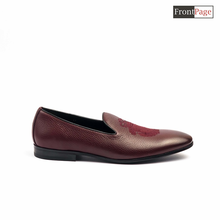 Billionaire Wine Leather Loafers With Crested Logo
