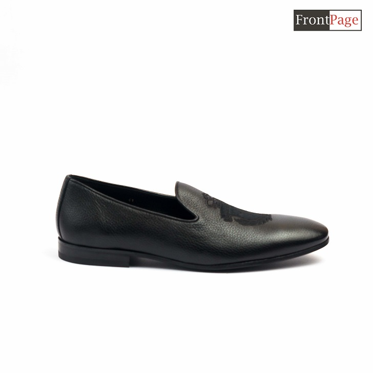 Billionaire Black Leather Loafers With Crested Logo