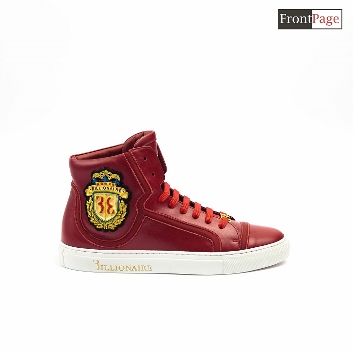 Red Billionaire High-top Sneakers With Red Lace Up