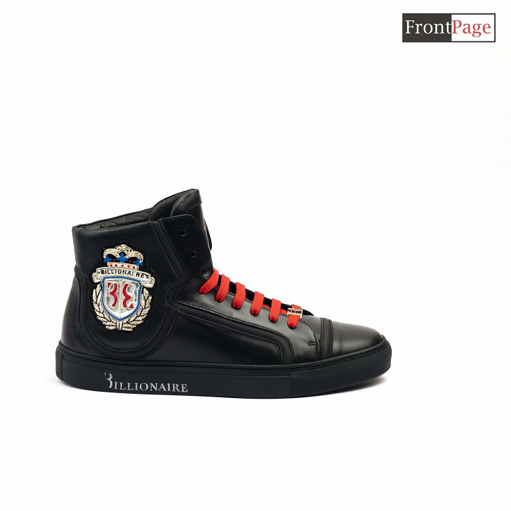 Black Billionaire High-top Sneakers With Red Lace Up